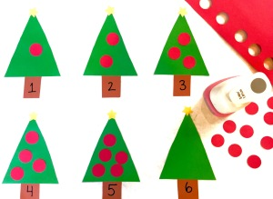 Children's Counting Activity Ornaments on Christmas Tree