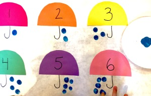 Children's Counting Activity Rain Drops and Umbrellas