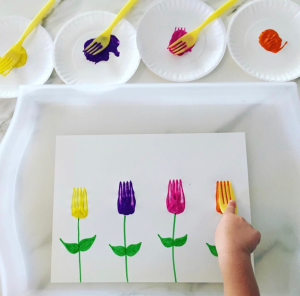 Fork Painting Flowers