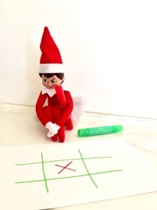 The Elf On The Shelf Ideas Playing Tic Tac Toe