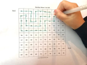 Free Number Maze Worksheet 1 to 100